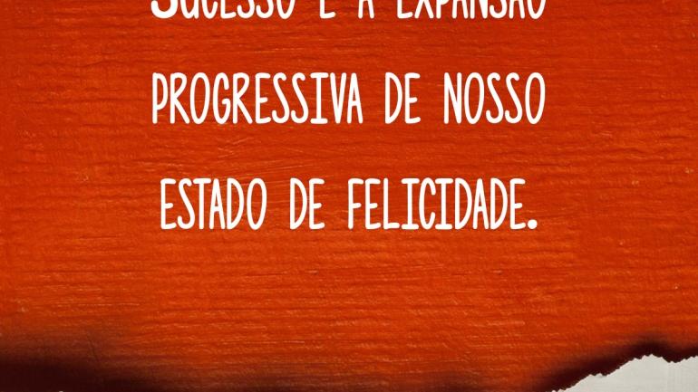 Sucesso é a expansão progressiva de nosso estado de felicidade.